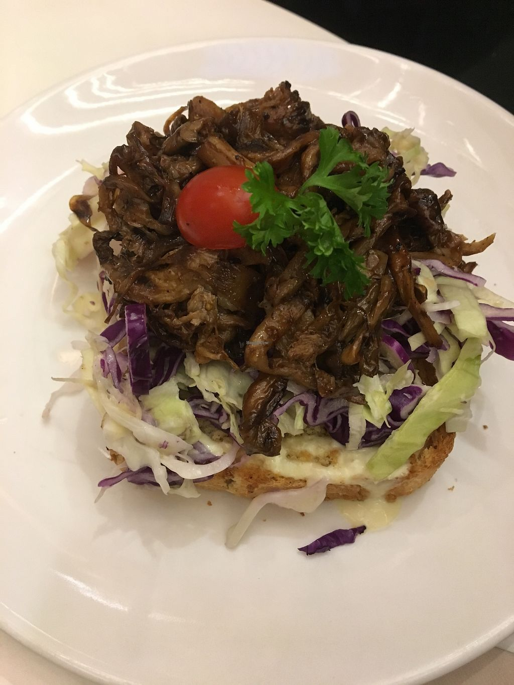 """Photo of Veganerie - Siam Paragon  by <a href=""""/members/profile/sanluvegan"""">sanluvegan</a> <br/>Sandwich with pulled vegan BBQ pork and coleslaw <br/> January 10, 2018  - <a href='/contact/abuse/image/83823/345052'>Report</a>"""
