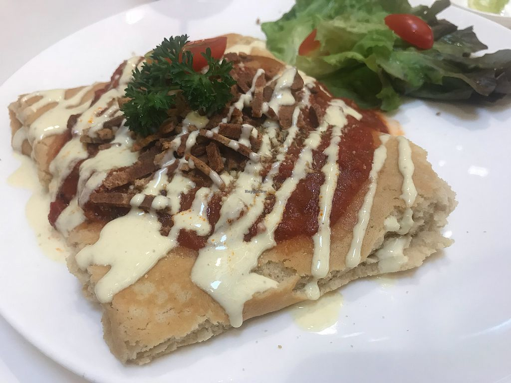 """Photo of Veganerie - Siam Paragon  by <a href=""""/members/profile/ChantelleDerrick"""">ChantelleDerrick</a> <br/>Pizza crepe <br/> January 19, 2018  - <a href='/contact/abuse/image/83823/348378'>Report</a>"""