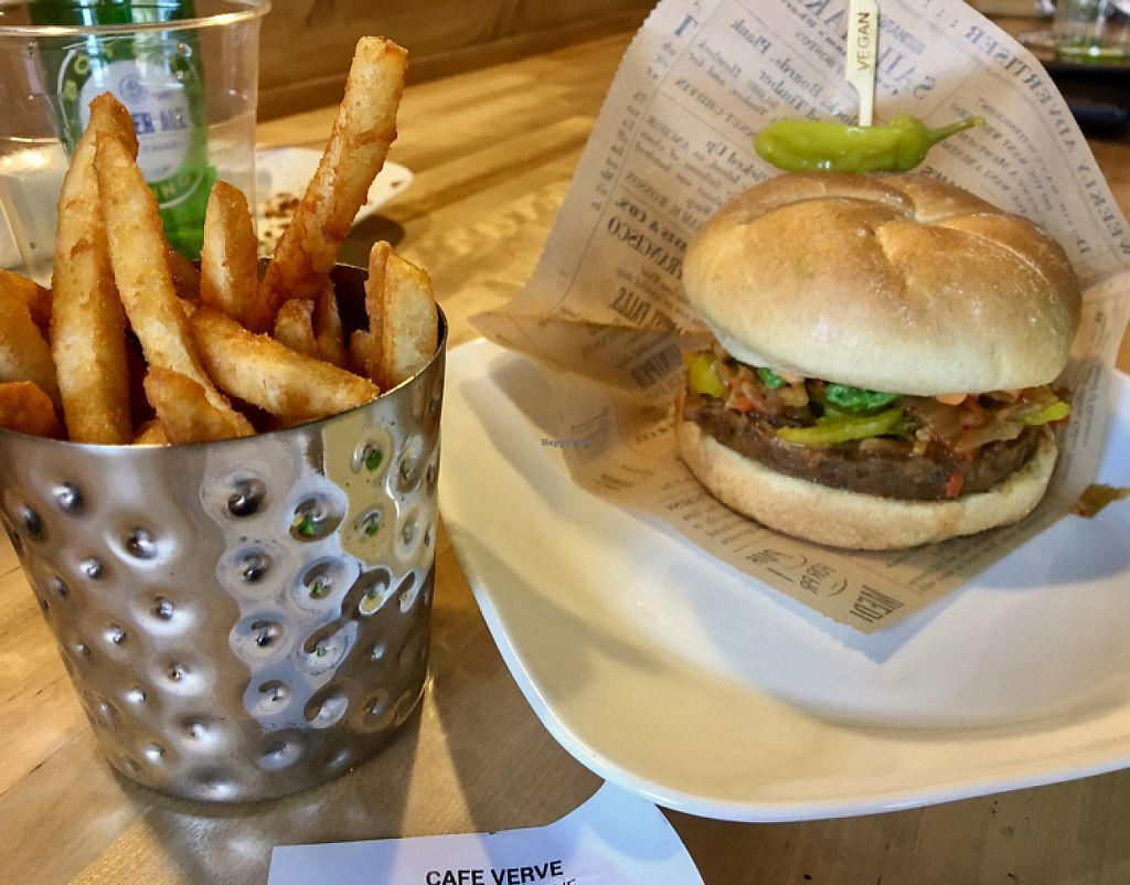 "Photo of Cafe Verve  by <a href=""/members/profile/Thepennsyltuckyvegan"">Thepennsyltuckyvegan</a> <br/>Burger and Fries <br/> May 24, 2017  - <a href='/contact/abuse/image/83830/262067'>Report</a>"