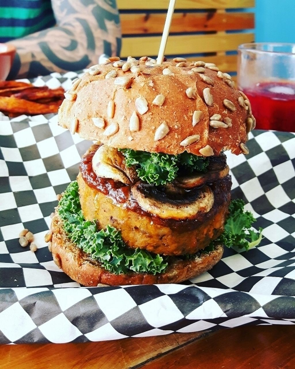 """Photo of Max & Bee Juicery  by <a href=""""/members/profile/dina_v"""">dina_v</a> <br/>Love Burger (vegan) sweet potato/lentils/mushroom/peanut sauce <br/> March 21, 2017  - <a href='/contact/abuse/image/83855/239236'>Report</a>"""