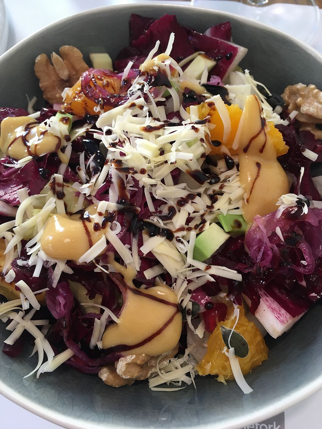 """Photo of Yum Nizza 1789  by <a href=""""/members/profile/hokusai77"""">hokusai77</a> <br/>Red salad with red chicory, onions, oranges, avocado, and vegan cheese <br/> March 22, 2018  - <a href='/contact/abuse/image/83863/374350'>Report</a>"""