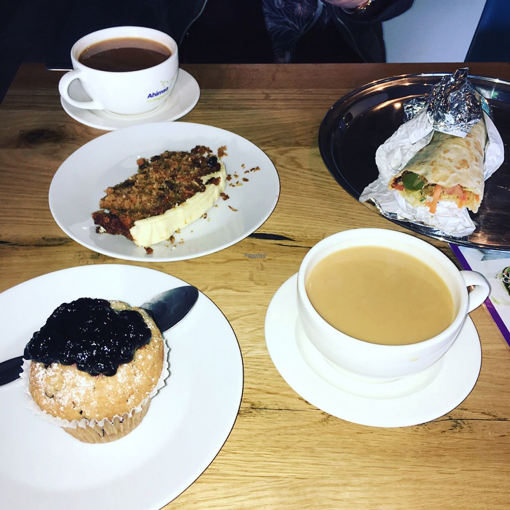 """Photo of Ahimsa The Vegan Cafe  by <a href=""""/members/profile/Luke1882"""">Luke1882</a> <br/>blueberry muffins, carrot cake & a jerk quorn chicken wrap with tea! <br/> January 19, 2017  - <a href='/contact/abuse/image/83881/213294'>Report</a>"""