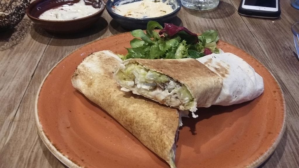 "Photo of The Vine Leaves  by <a href=""/members/profile/Vegan-Vinyl-Avengers"">Vegan-Vinyl-Avengers</a> <br/>Vegan falafel wrap <br/> December 11, 2016  - <a href='/contact/abuse/image/83885/199930'>Report</a>"