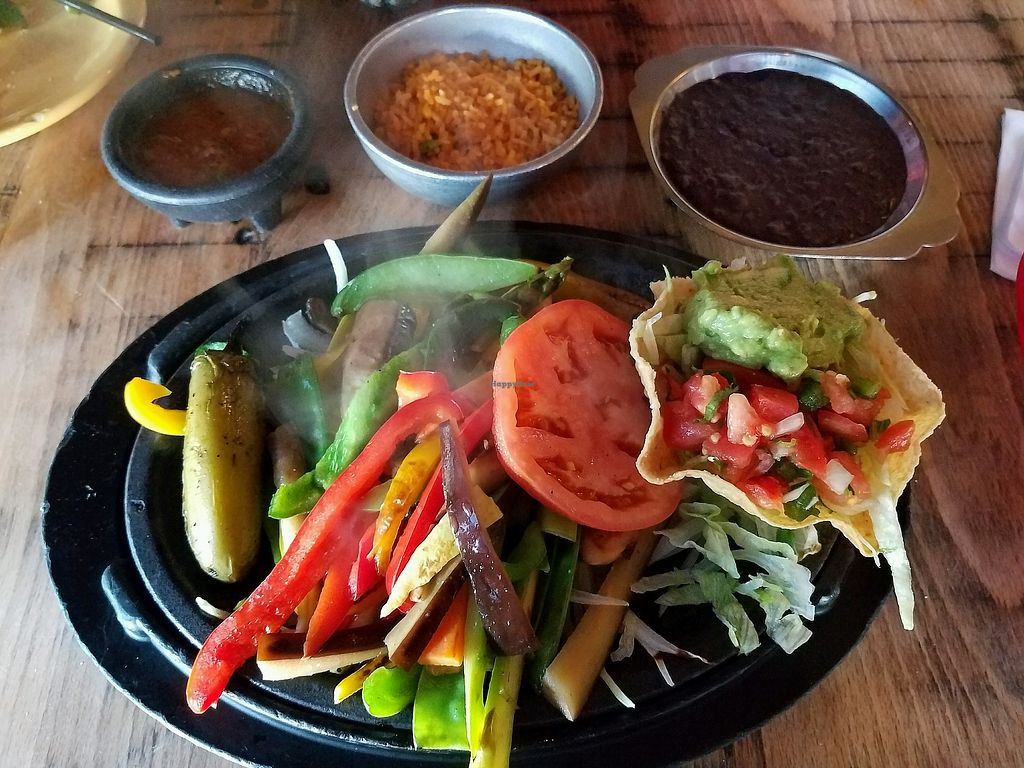 """Photo of El Tiempo Cantina  by <a href=""""/members/profile/veganlune"""">veganlune</a> <br/>Vegan Fajitas <br/> May 12, 2018  - <a href='/contact/abuse/image/83963/398759'>Report</a>"""