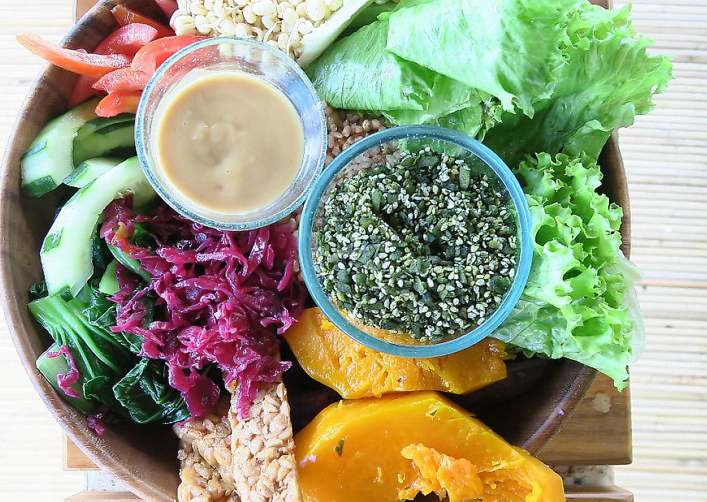 """Photo of Sayuri Healing Food  by <a href=""""/members/profile/HappyVeganCouple"""">HappyVeganCouple</a> <br/>Salad bow and a side of tempeh <br/> March 25, 2017  - <a href='/contact/abuse/image/83973/267414'>Report</a>"""