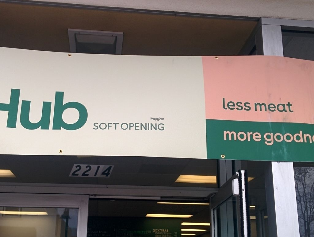 """Photo of The Veg Hub  by <a href=""""/members/profile/MizzB"""">MizzB</a> <br/>Street sign expanded; less meat, more goodness <br/> December 16, 2016  - <a href='/contact/abuse/image/83994/201636'>Report</a>"""