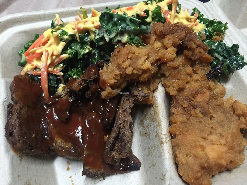 """Photo of The Veg Hub  by <a href=""""/members/profile/Lelele"""">Lelele</a> <br/>portersteak with barbeque sauce with the side of candy yam and kale salad topped with their cheese. delicious delicious!!!  <br/> March 26, 2017  - <a href='/contact/abuse/image/83994/241489'>Report</a>"""