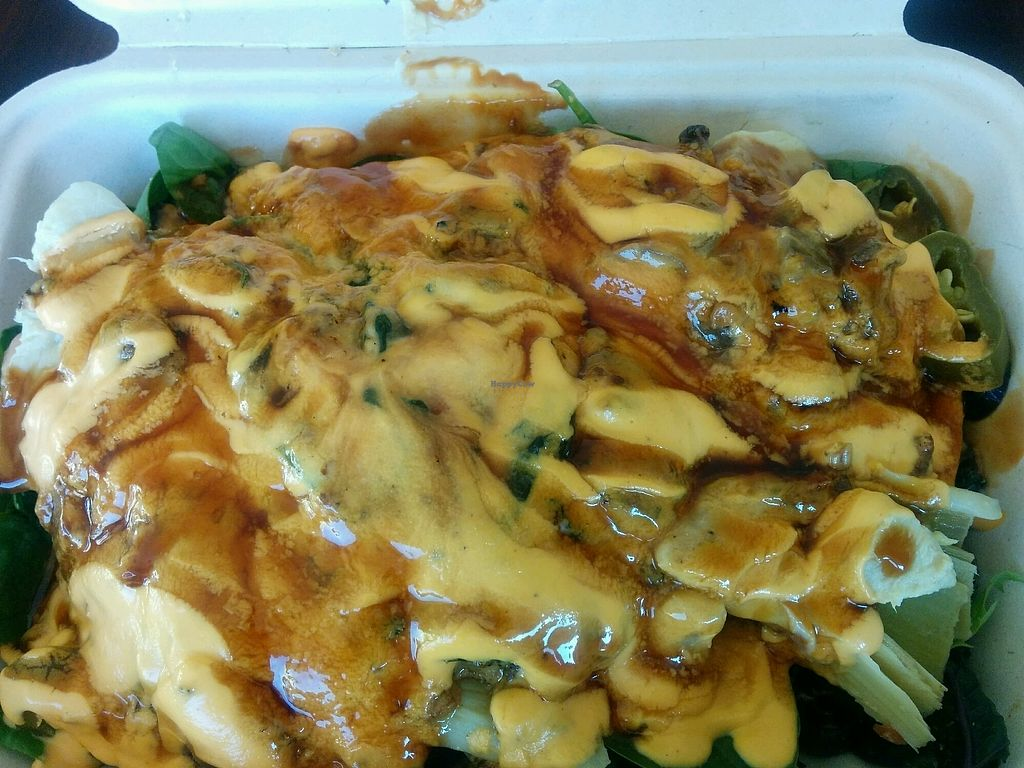 """Photo of The Veg Hub  by <a href=""""/members/profile/MizzB"""">MizzB</a> <br/>delicious spinach mushroom terriyaki on salad base <br/> December 12, 2017  - <a href='/contact/abuse/image/83994/335046'>Report</a>"""