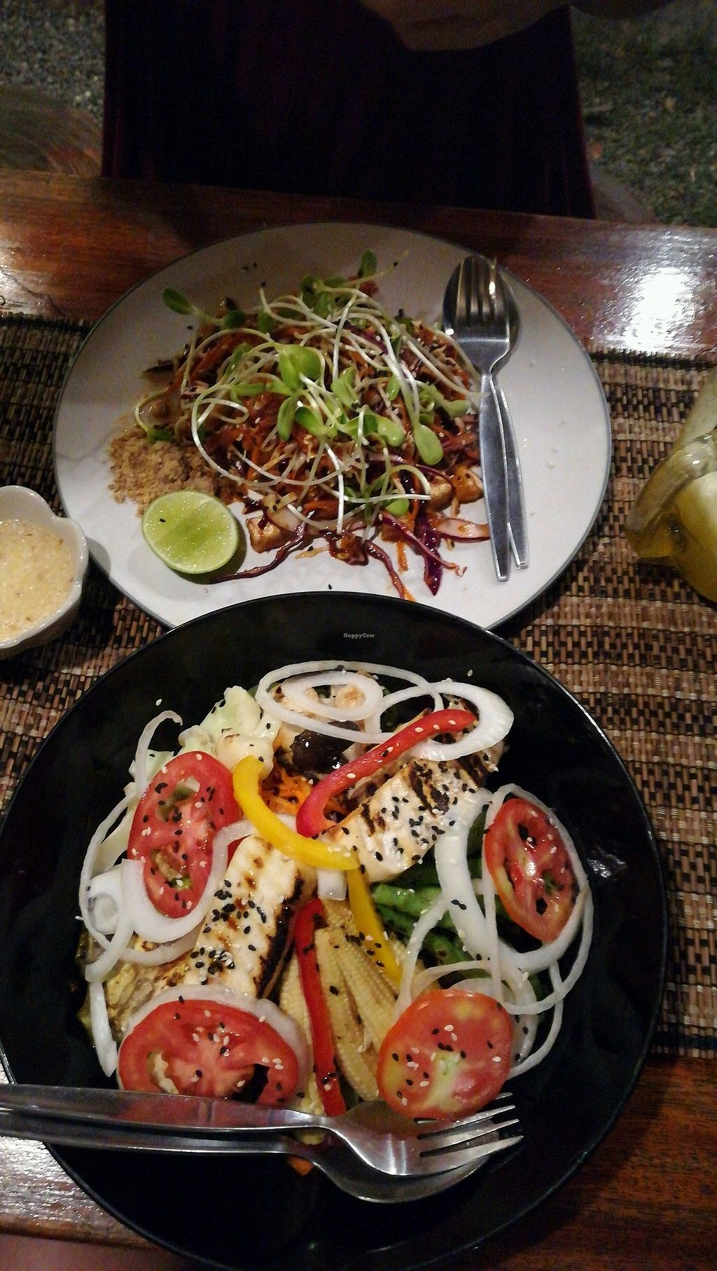 """Photo of Happy Veggie  by <a href=""""/members/profile/Marleen410"""">Marleen410</a> <br/>raw pad thai and a salad with tofu  <br/> March 2, 2018  - <a href='/contact/abuse/image/83999/365862'>Report</a>"""