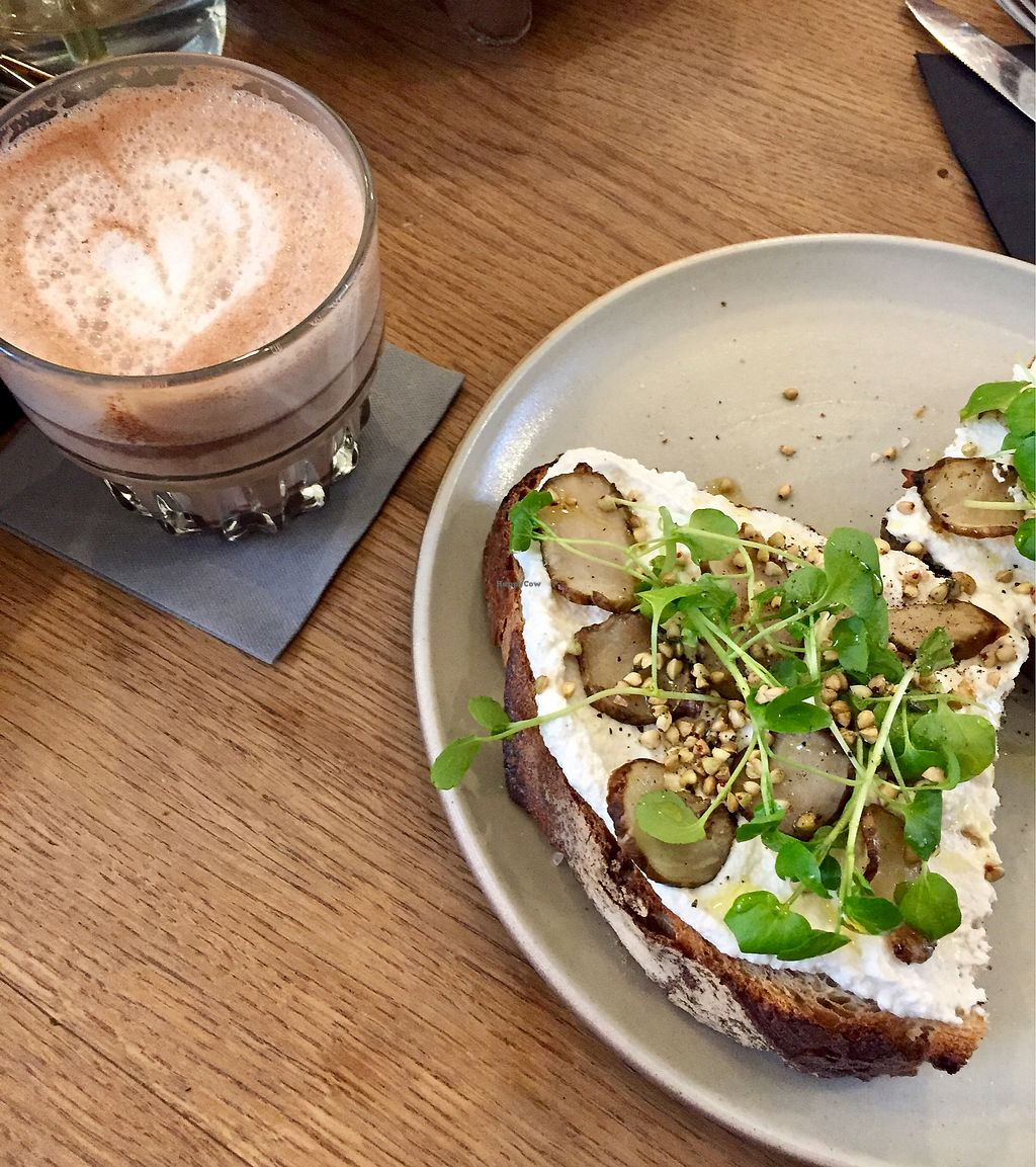 """Photo of Mok  by <a href=""""/members/profile/agatonluna"""">agatonluna</a> <br/>Hot chocolate and toast with almond feta. All vegan! <br/> March 2, 2018  - <a href='/contact/abuse/image/84017/365884'>Report</a>"""