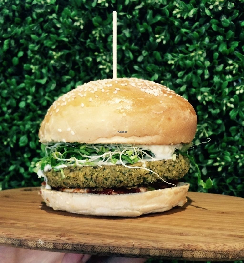 """Photo of Herbivore Eatery  by <a href=""""/members/profile/Herbivorefalafelbar"""">Herbivorefalafelbar</a> <br/>Herbivore's Falafel Burger has a perfect combination of ingredients to make your taste buds sing! Homemade matbucha, falafel and a fresh brioche bun, we've got the best vegan burgers! <br/> December 17, 2016  - <a href='/contact/abuse/image/84024/202324'>Report</a>"""