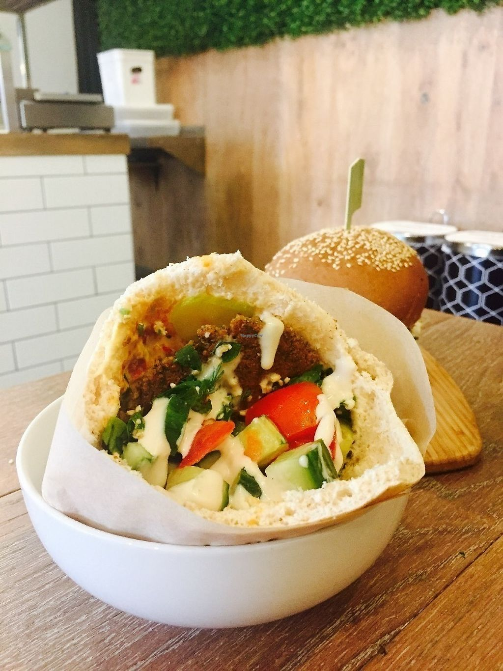 """Photo of Herbivore Eatery  by <a href=""""/members/profile/karlaess"""">karlaess</a> <br/>Middle Eastern Full Falafel pocket <br/> May 6, 2017  - <a href='/contact/abuse/image/84024/256160'>Report</a>"""