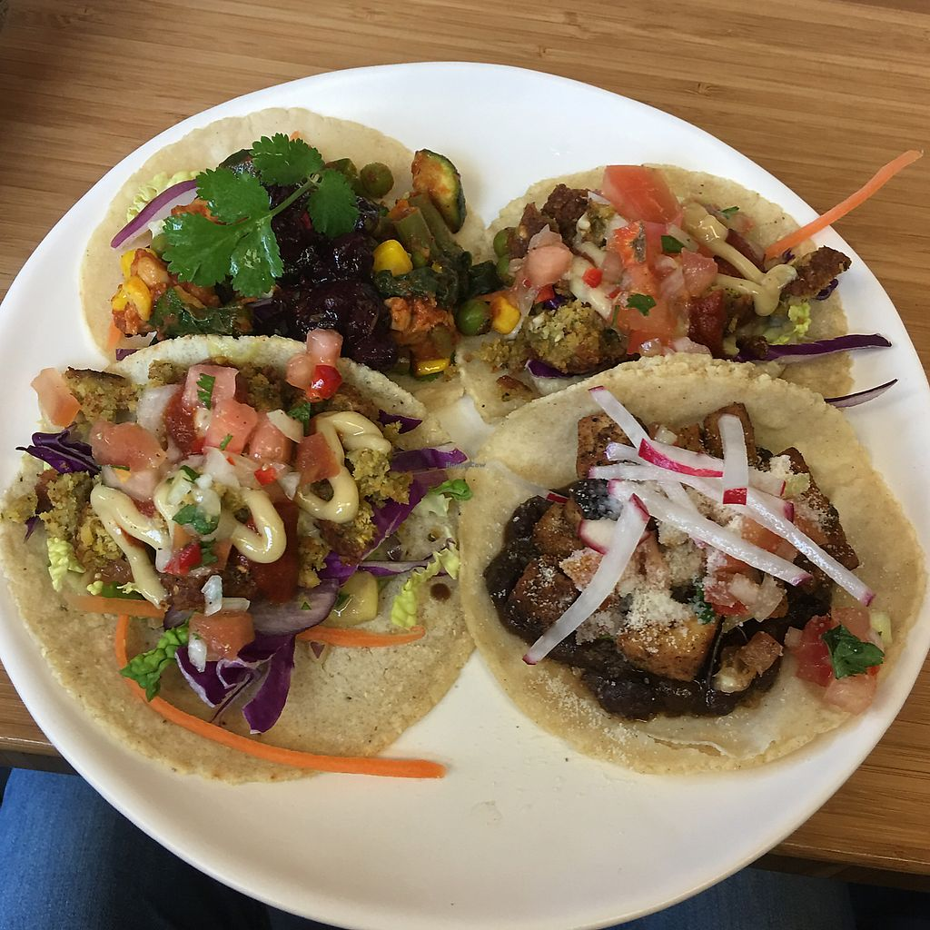 """Photo of Boquita  by <a href=""""/members/profile/SimonB."""">SimonB.</a> <br/>2 tacos falafel + 1 taco tempeh + 1 special of the day <br/> June 24, 2017  - <a href='/contact/abuse/image/84027/272858'>Report</a>"""