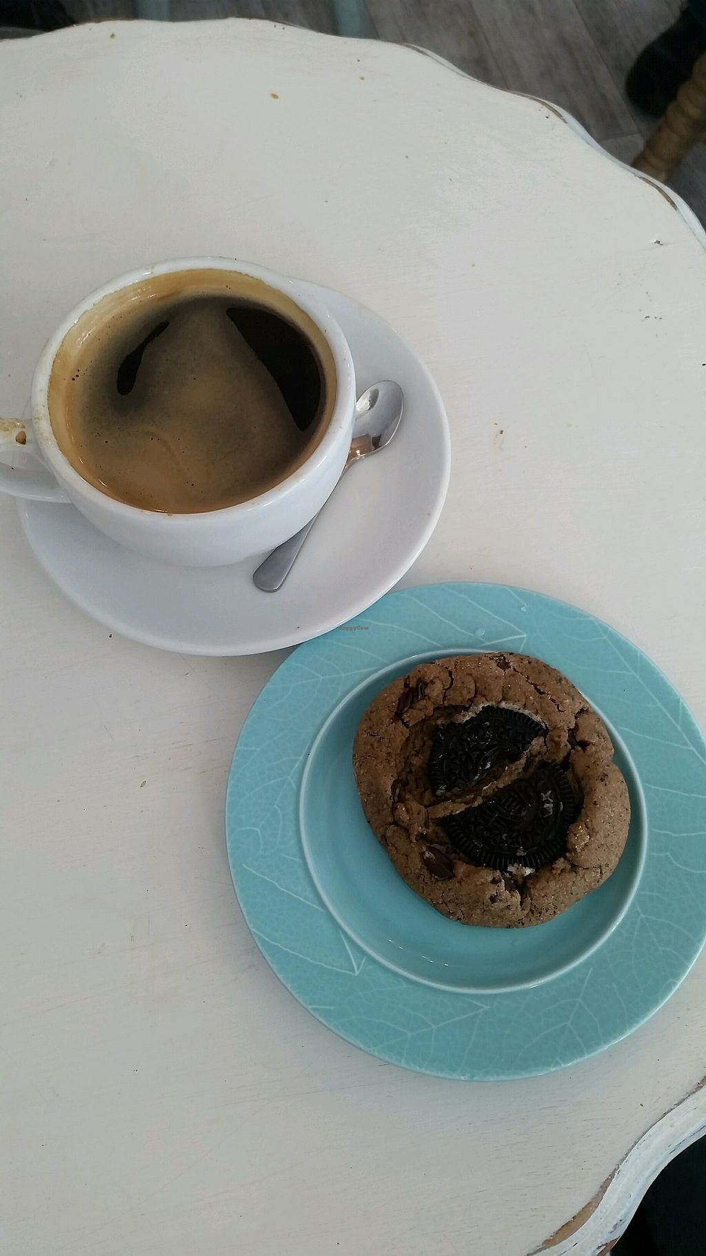 """Photo of Nicoletta's Cake Boutique  by <a href=""""/members/profile/AndyTheVWDude"""">AndyTheVWDude</a> <br/>Good coffee & a Cookies & Cream cookie ~ Yum! <br/> November 25, 2017  - <a href='/contact/abuse/image/84028/328920'>Report</a>"""