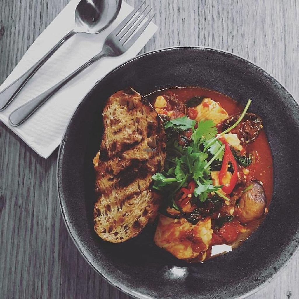 """Photo of Tom Phat  by <a href=""""/members/profile/community"""">community</a> <br/>Vegan Silken Tofu breakfast with mushroom, spinach and roast tomato salsa <br/> December 15, 2016  - <a href='/contact/abuse/image/84029/201314'>Report</a>"""