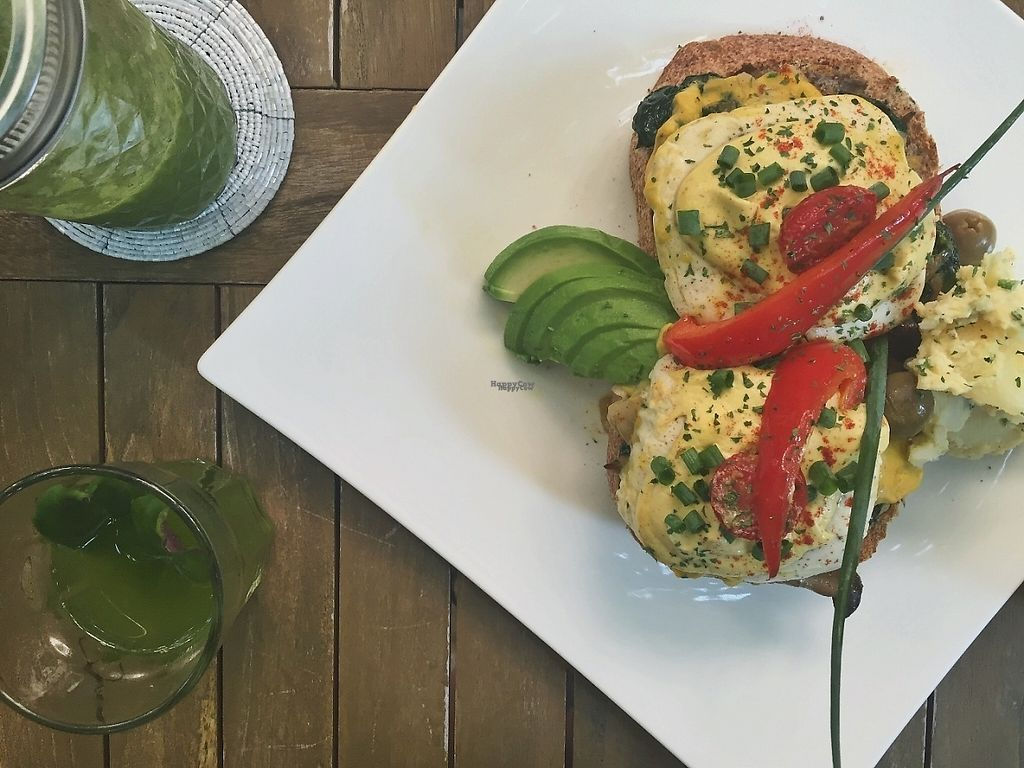 """Photo of Natural Cafe Niffera  by <a href=""""/members/profile/nannanaps"""">nannanaps</a> <br/>Vegan eggs benedict & green smoothie <br/> March 27, 2017  - <a href='/contact/abuse/image/84034/241680'>Report</a>"""