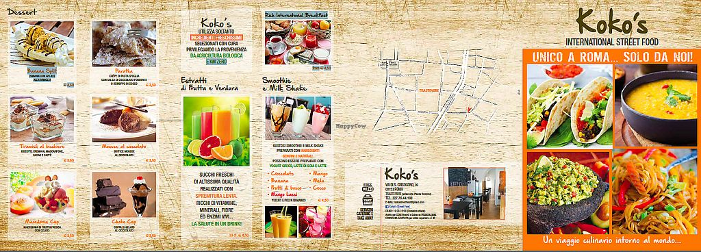 """Photo of Koko's International Street Food  by <a href=""""/members/profile/authentikstreetfood"""">authentikstreetfood</a> <br/>VEG FRIENDLY MENU KOKO'S TRASTEVERE COLD FRESHLY PRESSED JUICES AND HEALTHY STREETFOOD <br/> July 3, 2017  - <a href='/contact/abuse/image/84068/276251'>Report</a>"""