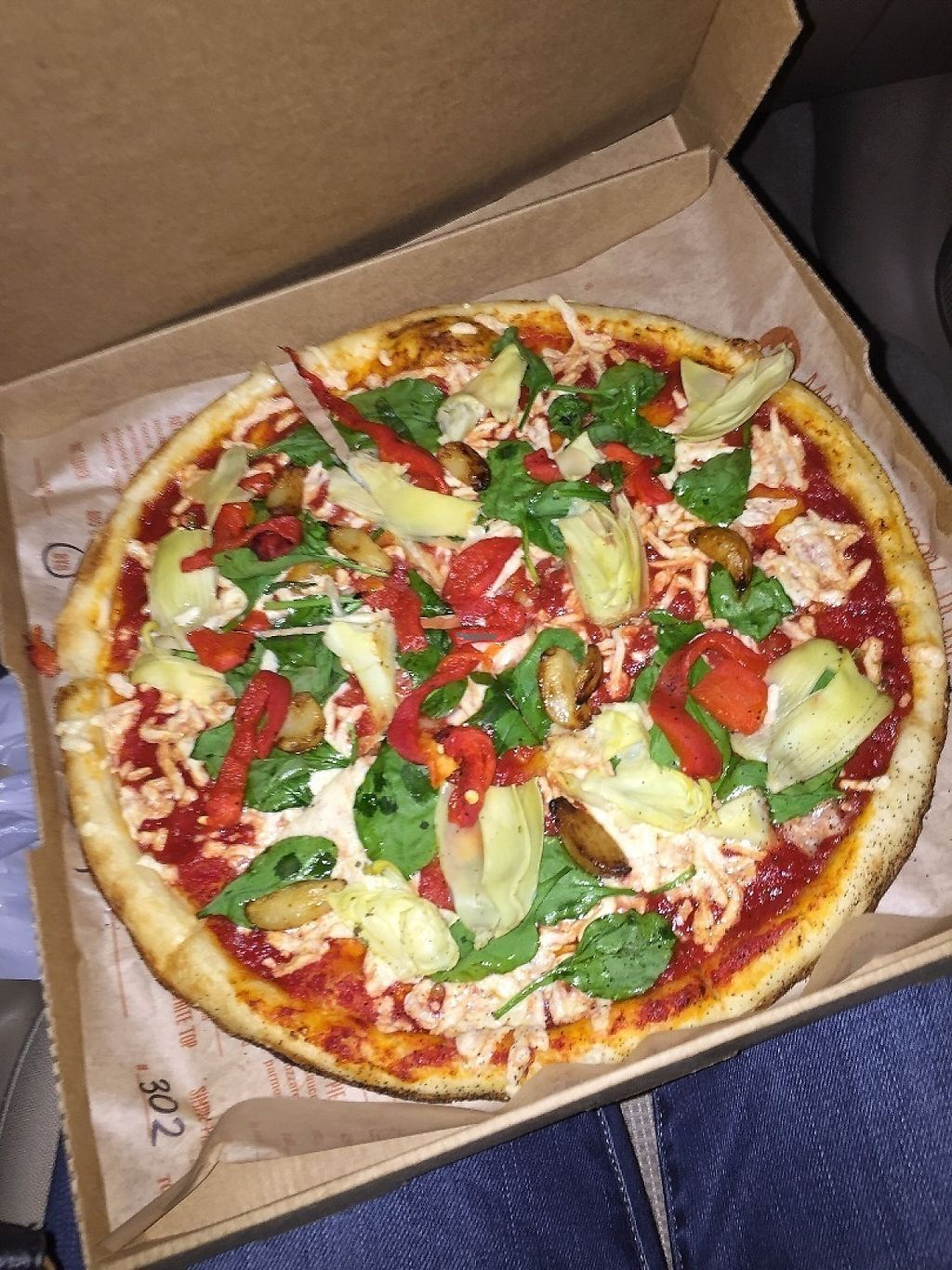 "Photo of Blaze Pizza  by <a href=""/members/profile/PlantPrincesa"">PlantPrincesa</a> <br/>Regular crust, red sauce, vegan cheese, artichokes, roasted garlic, spinach, & roasted red peppers <br/> December 30, 2016  - <a href='/contact/abuse/image/84117/206241'>Report</a>"