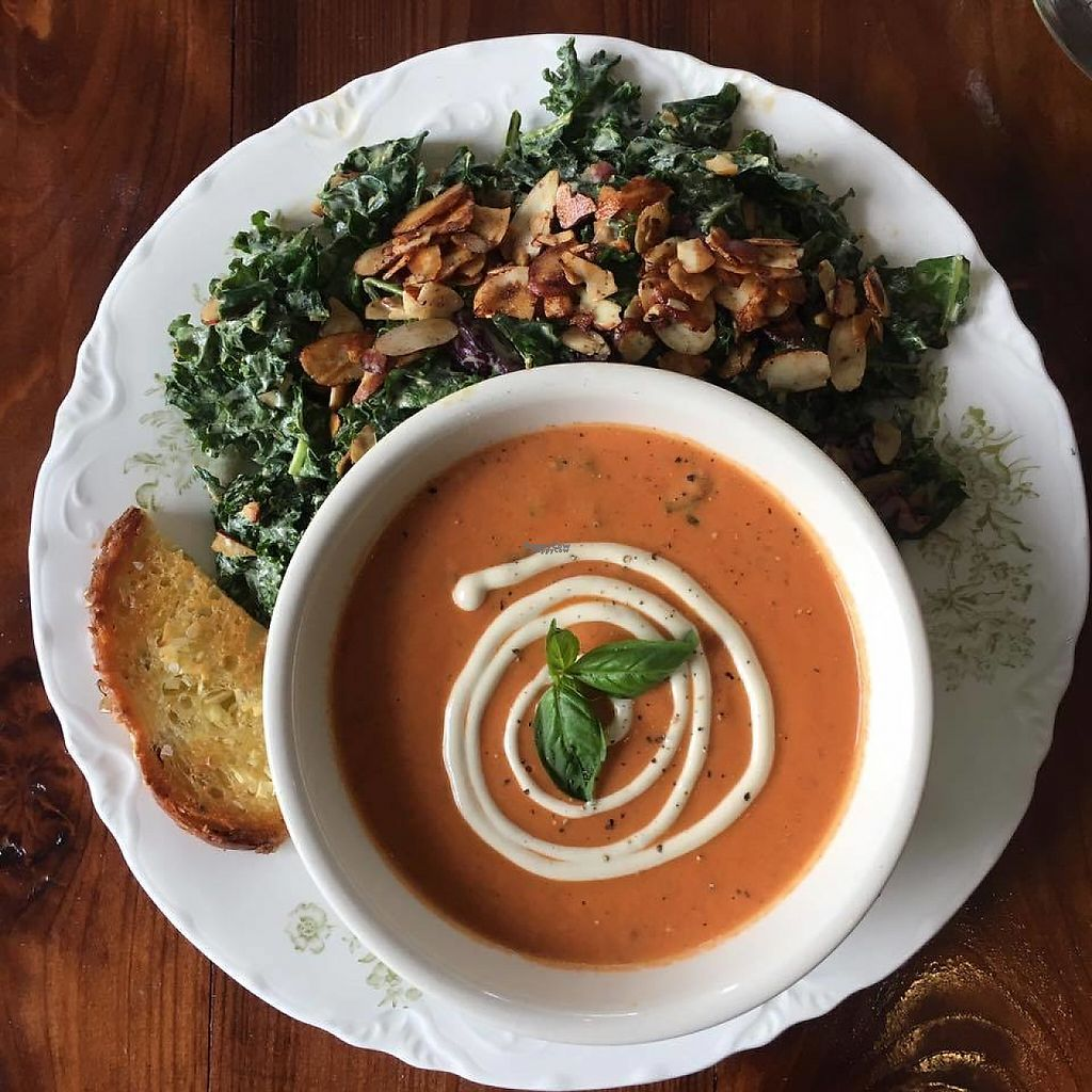 """Photo of Retreat Kitchen  by <a href=""""/members/profile/community"""">community</a> <br/>Roasted Tomato Soup with Cashew Cream, and Kale Caesar Salad <br/> December 18, 2016  - <a href='/contact/abuse/image/84122/202445'>Report</a>"""