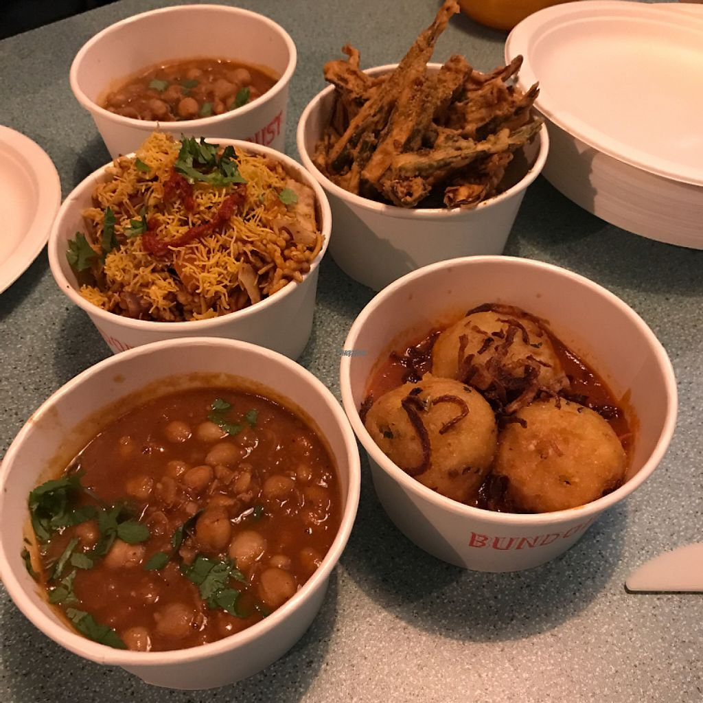 """Photo of Bundobust  by <a href=""""/members/profile/The%20London%20Vegan"""">The London Vegan</a> <br/>vegan selection!  <br/> February 21, 2017  - <a href='/contact/abuse/image/84132/228723'>Report</a>"""