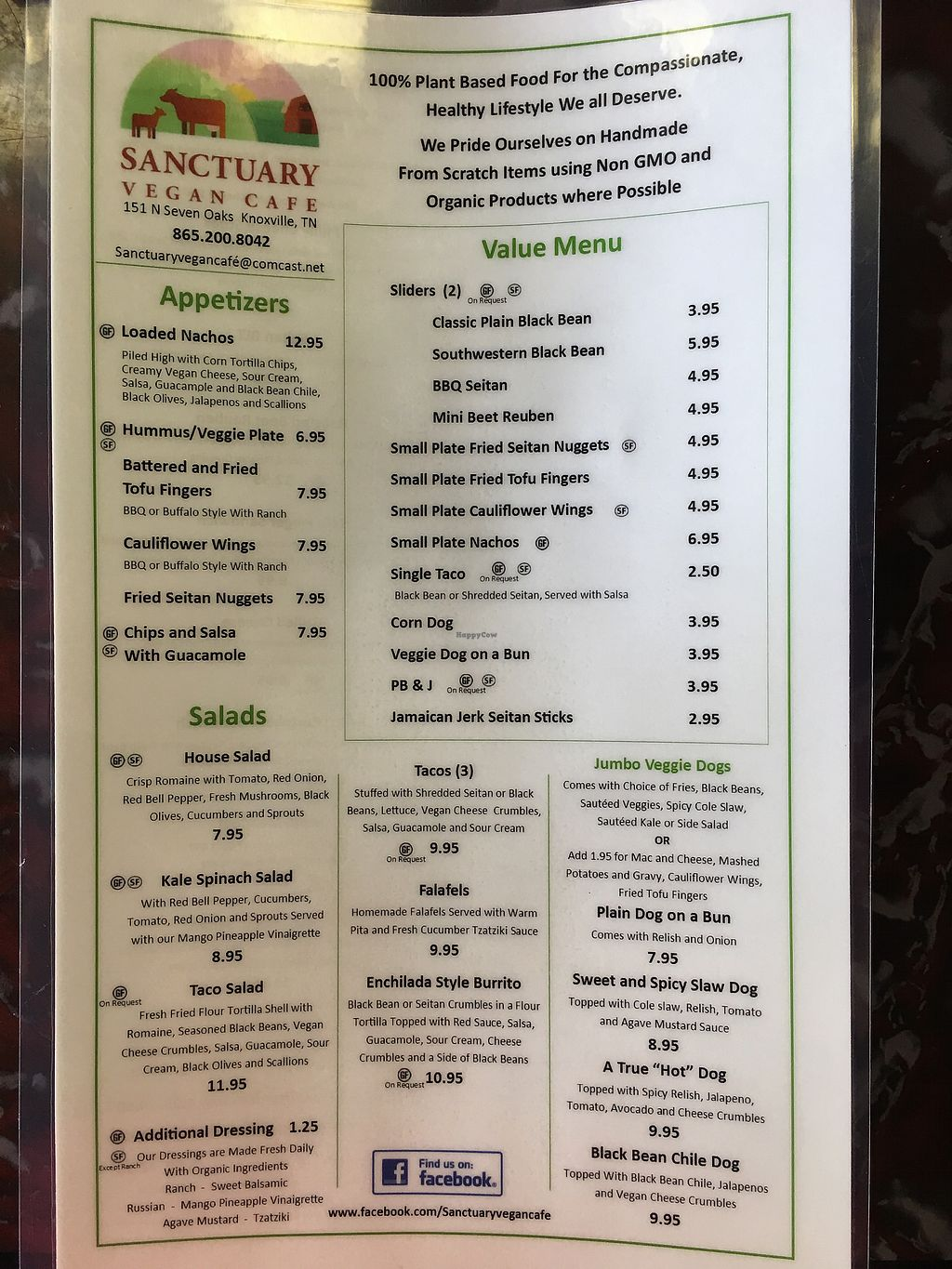 """Photo of Sanctuary Vegan Cafe  by <a href=""""/members/profile/ScoutsMom"""">ScoutsMom</a> <br/>Menu Front <br/> July 6, 2017  - <a href='/contact/abuse/image/84135/277185'>Report</a>"""