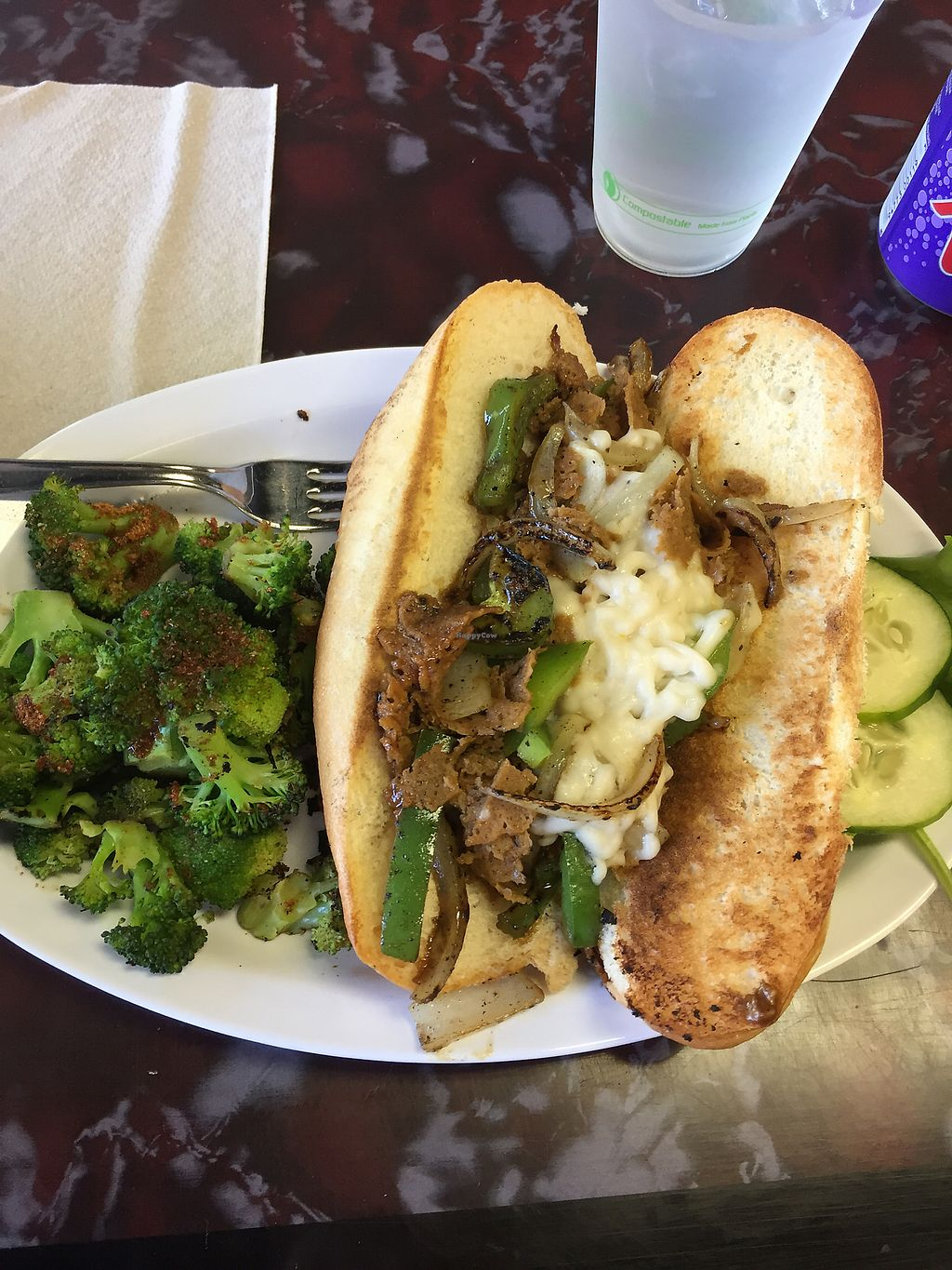 """Photo of Sanctuary Vegan Cafe  by <a href=""""/members/profile/sopranonerd"""">sopranonerd</a> <br/>Philly cheesesteak  <br/> September 22, 2017  - <a href='/contact/abuse/image/84135/307015'>Report</a>"""
