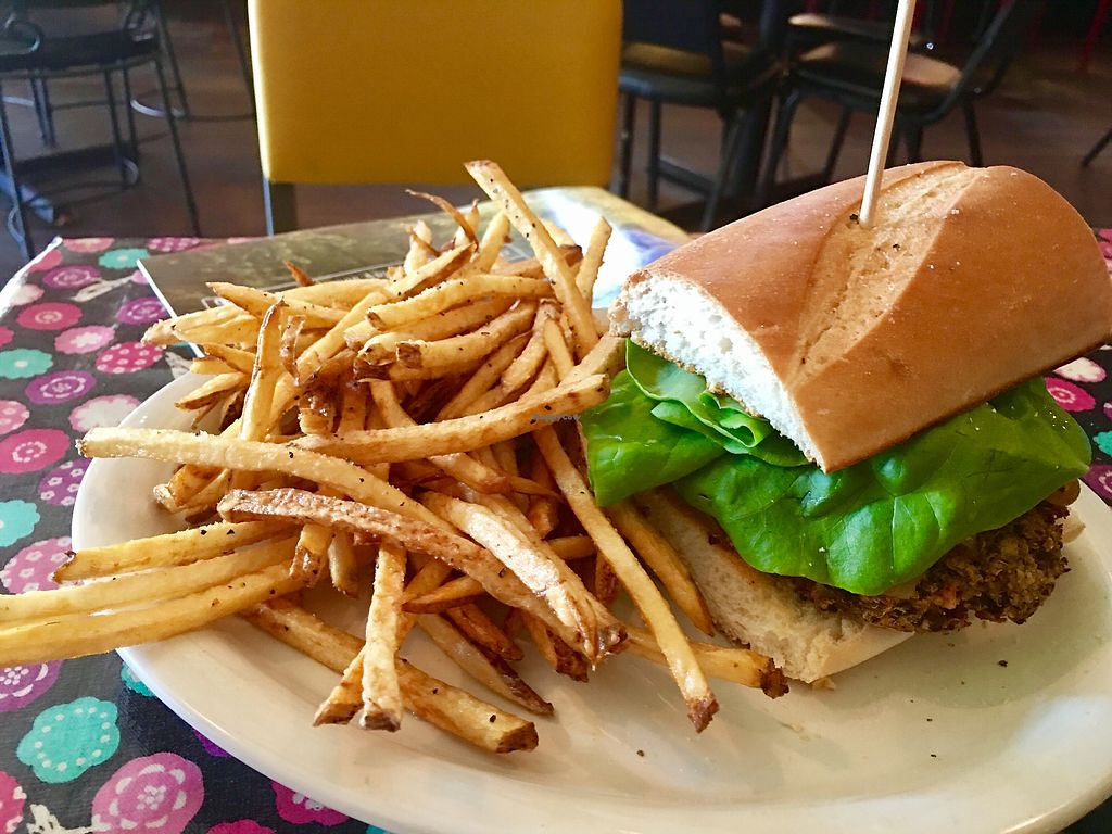 """Photo of Bluegrass Kitchen  by <a href=""""/members/profile/T.j.Witten"""">T.j.Witten</a> <br/>vegan burger <br/> July 26, 2017  - <a href='/contact/abuse/image/8413/285320'>Report</a>"""