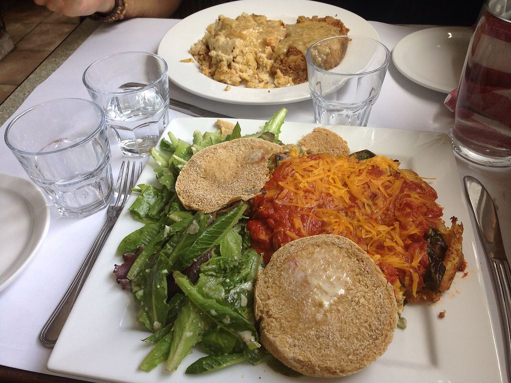 """Photo of Vegano  by <a href=""""/members/profile/doitforthemermaids"""">doitforthemermaids</a> <br/>Burger ??? & omelet pizza <br/> October 11, 2017  - <a href='/contact/abuse/image/84140/314361'>Report</a>"""