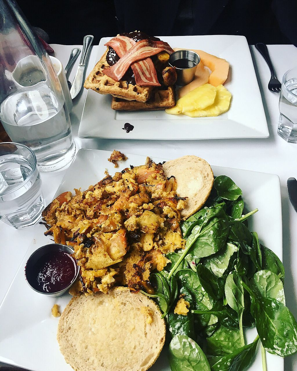 """Photo of Vegano  by <a href=""""/members/profile/mainelark"""">mainelark</a> <br/>The omelet and chocolate banana waffles  <br/> December 9, 2017  - <a href='/contact/abuse/image/84140/333826'>Report</a>"""