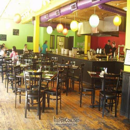 """Photo of Green Bowl  by <a href=""""/members/profile/PennsyltuckyVeggie"""">PennsyltuckyVeggie</a> <br/>Interior of Green Bowl, shiny black tables waiting for you! <br/> August 8, 2011  - <a href='/contact/abuse/image/8414/10000'>Report</a>"""