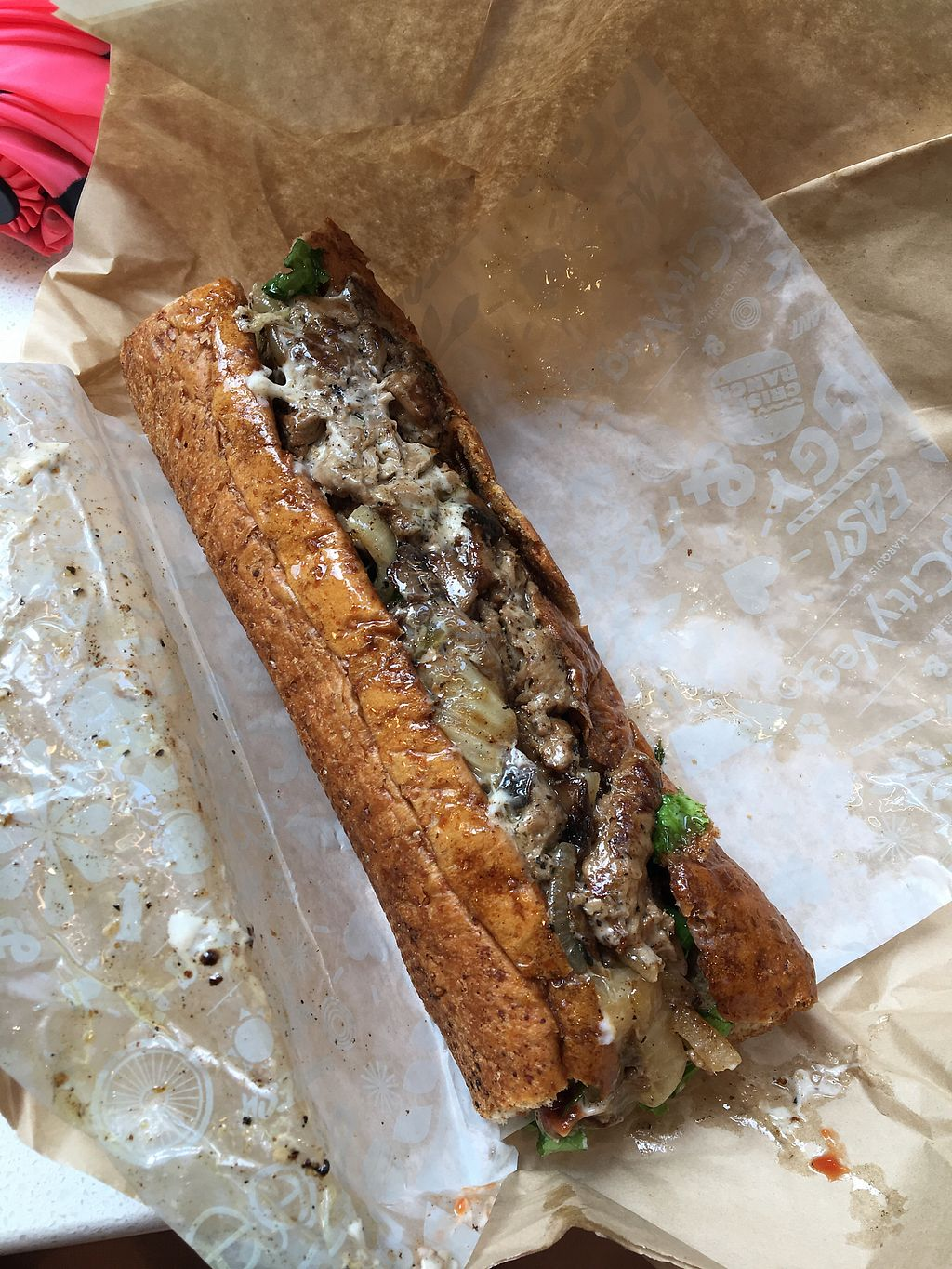 """Photo of HipCityVeg - Broad St  by <a href=""""/members/profile/Thepennsyltuckyvegan"""">Thepennsyltuckyvegan</a> <br/>cheesesteak <br/> June 21, 2017  - <a href='/contact/abuse/image/84195/271946'>Report</a>"""