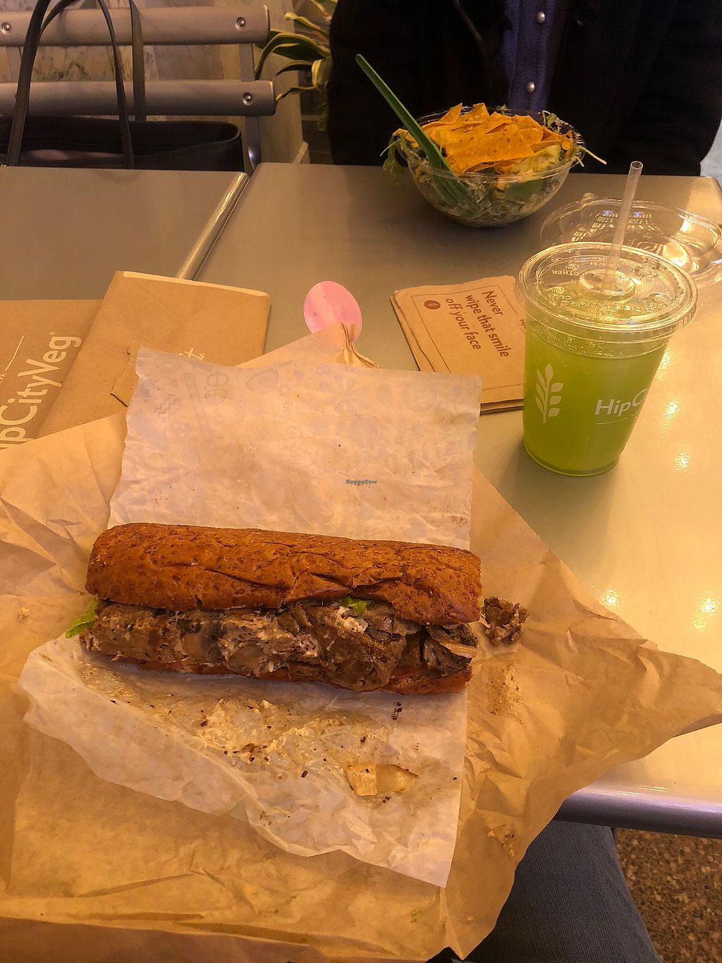 """Photo of HipCityVeg - Broad St  by <a href=""""/members/profile/MaggieZarlengo"""">MaggieZarlengo</a> <br/>Cheesesteak and kale lemonade <br/> January 14, 2018  - <a href='/contact/abuse/image/84195/346586'>Report</a>"""