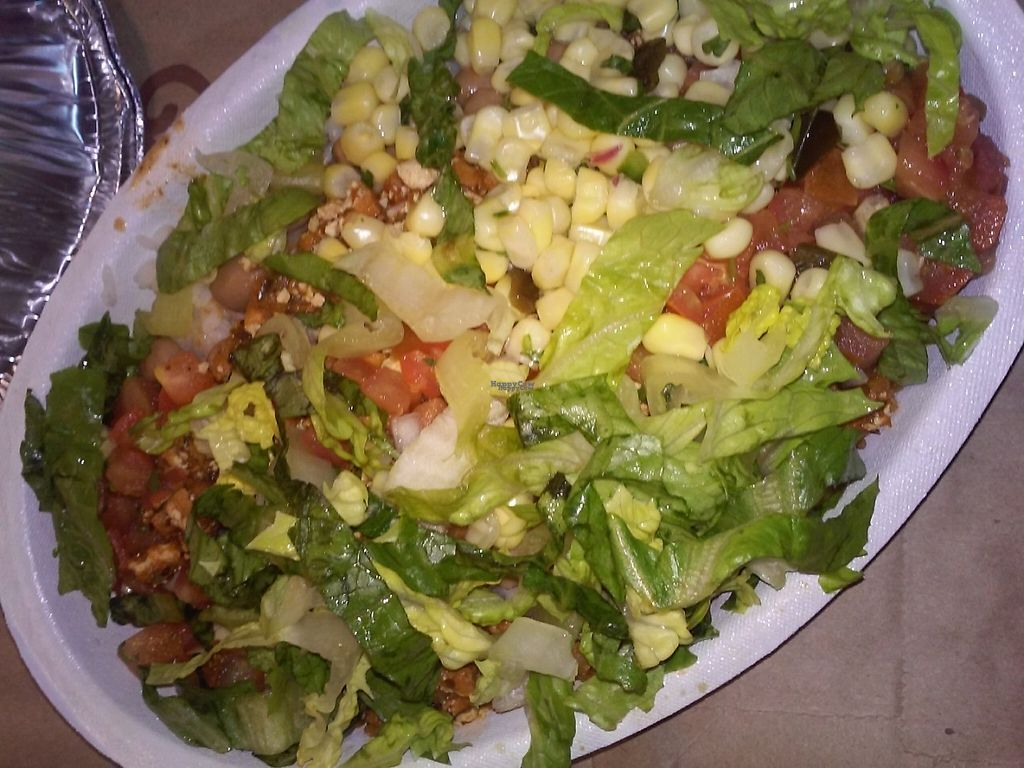 """Photo of Chipotle   by <a href=""""/members/profile/anastronomy"""">anastronomy</a> <br/>Burrito bowl with white rice, pinto beans, sofritas, mild sauce, corn, and lettuce <br/> February 11, 2017  - <a href='/contact/abuse/image/84240/225473'>Report</a>"""