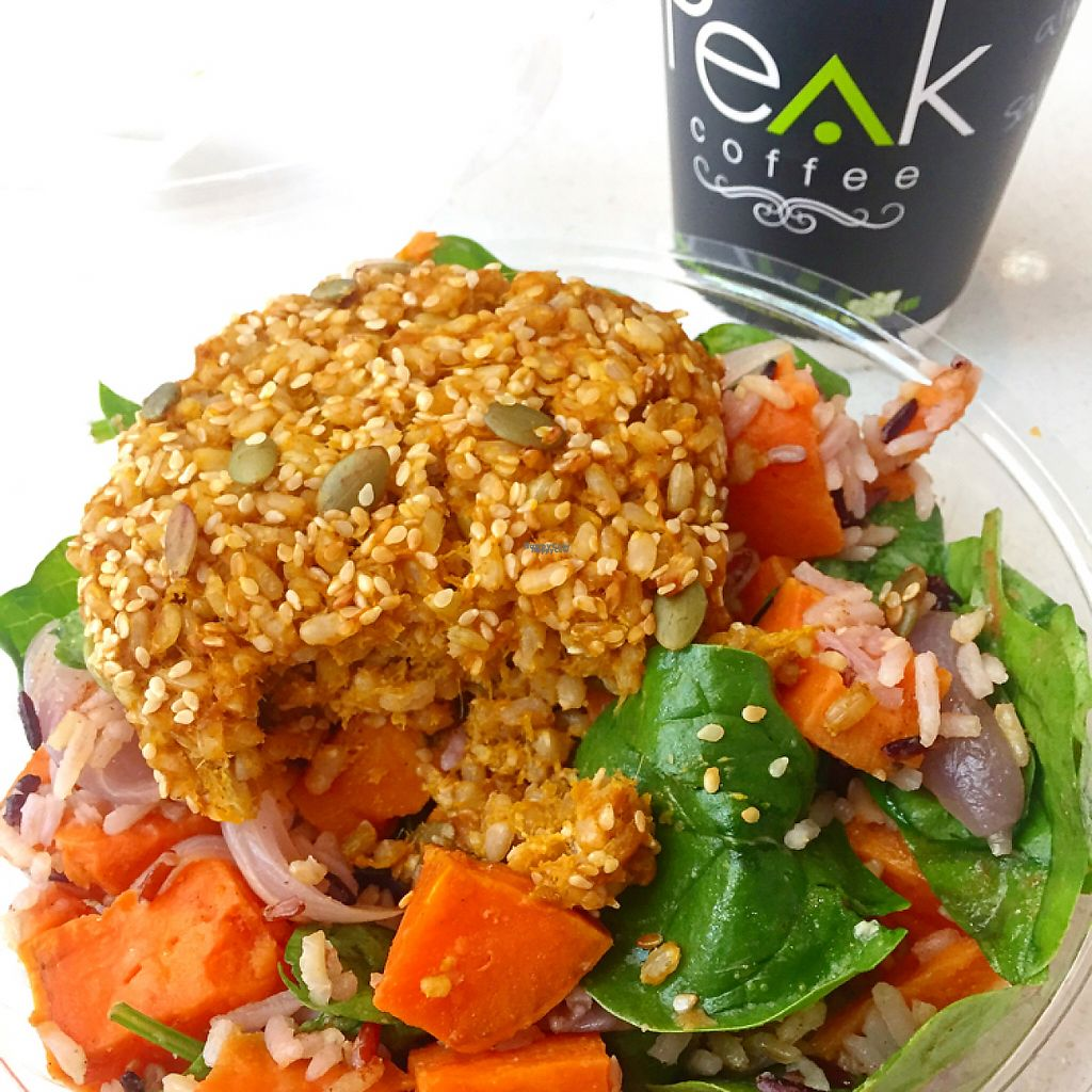 """Photo of Bookface Cafe  by <a href=""""/members/profile/SallyEller"""">SallyEller</a> <br/>Pumpkin and brown rice pattie with salad (vegan) <br/> December 31, 2016  - <a href='/contact/abuse/image/84305/206570'>Report</a>"""