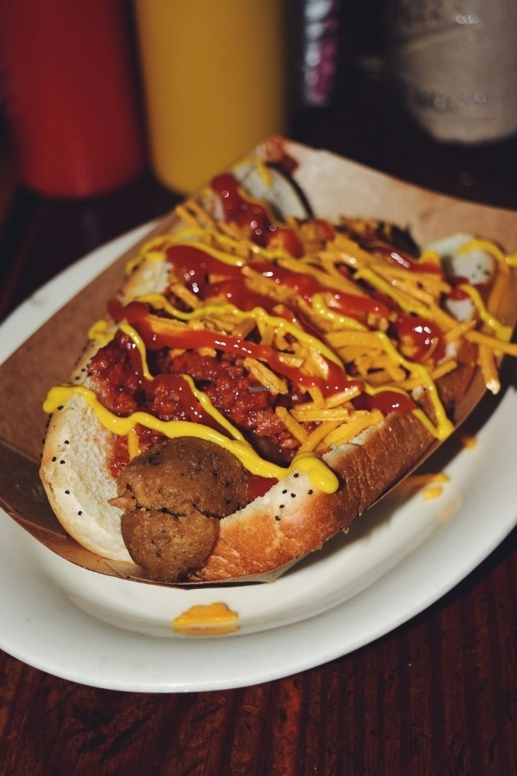 "Photo of CLOSED: Frank  by <a href=""/members/profile/PlantPrincesa"">PlantPrincesa</a> <br/>Vegan chili cheese dog with poppyseed bun <br/> December 30, 2016  - <a href='/contact/abuse/image/84328/206271'>Report</a>"