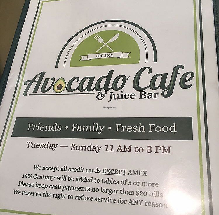 "Photo of Avocado Cafe & Juice Bar  by <a href=""/members/profile/StephanieWilson"">StephanieWilson</a> <br/>Menu Cover  <br/> March 26, 2018  - <a href='/contact/abuse/image/84349/376150'>Report</a>"