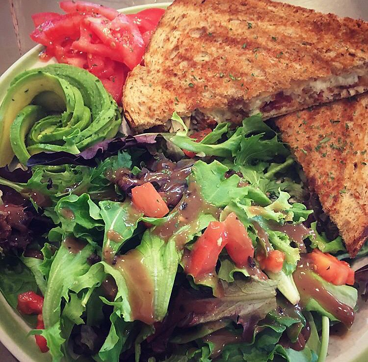 "Photo of Avocado Cafe & Juice Bar  by <a href=""/members/profile/StephanieWilson"">StephanieWilson</a> <br/>I visited before going vegan so this is a chicken sandwich  SORRY but look at the rest and the lovely presentation  <br/> March 26, 2018  - <a href='/contact/abuse/image/84349/376152'>Report</a>"