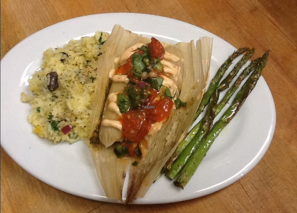 """Photo of Chimera Cafe  by <a href=""""/members/profile/community"""">community</a> <br/>Vegan Tamale Platter <br/> January 24, 2017  - <a href='/contact/abuse/image/84350/215592'>Report</a>"""