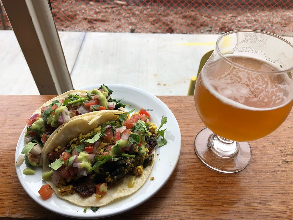 """Photo of Chimera Cafe  by <a href=""""/members/profile/Awake1234"""">Awake1234</a> <br/>Breakfast Tacos and Beer!! <br/> March 28, 2018  - <a href='/contact/abuse/image/84350/377361'>Report</a>"""