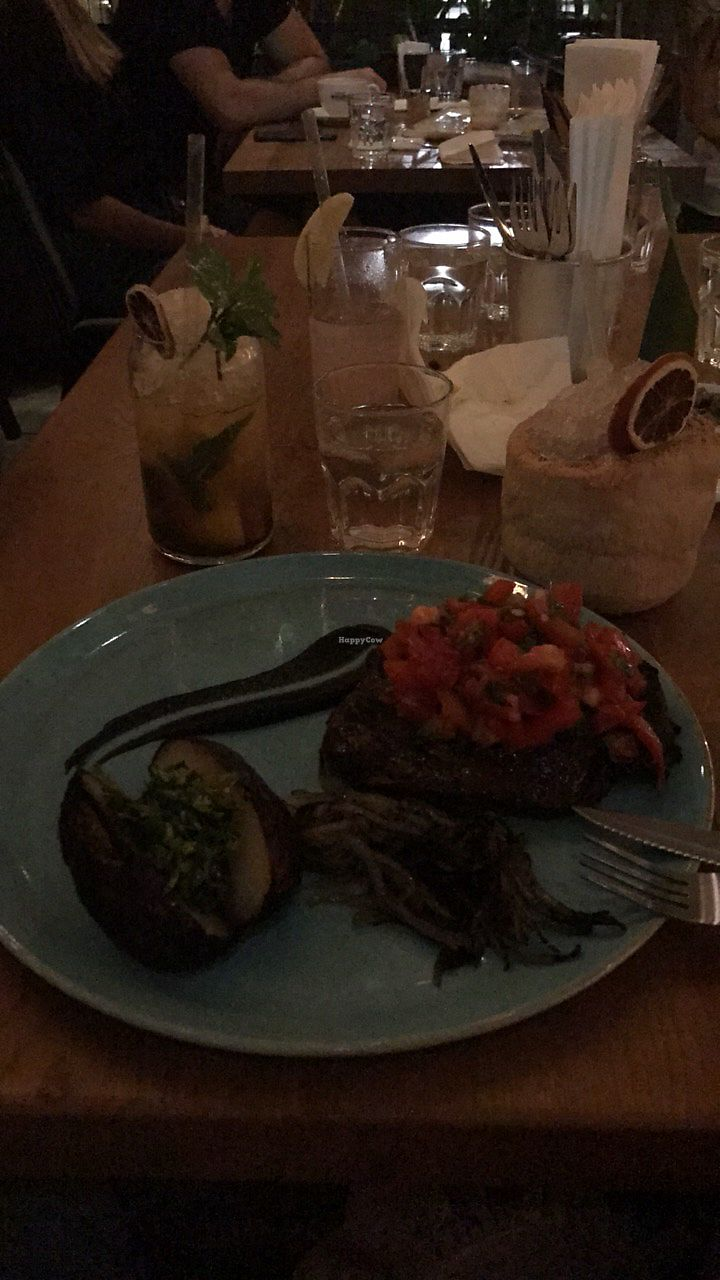 """Photo of Four One Six  by <a href=""""/members/profile/IlanaShapira"""">IlanaShapira</a> <br/>Unbelievable Vegan Steak made of seitan  <br/> January 28, 2018  - <a href='/contact/abuse/image/84392/351839'>Report</a>"""