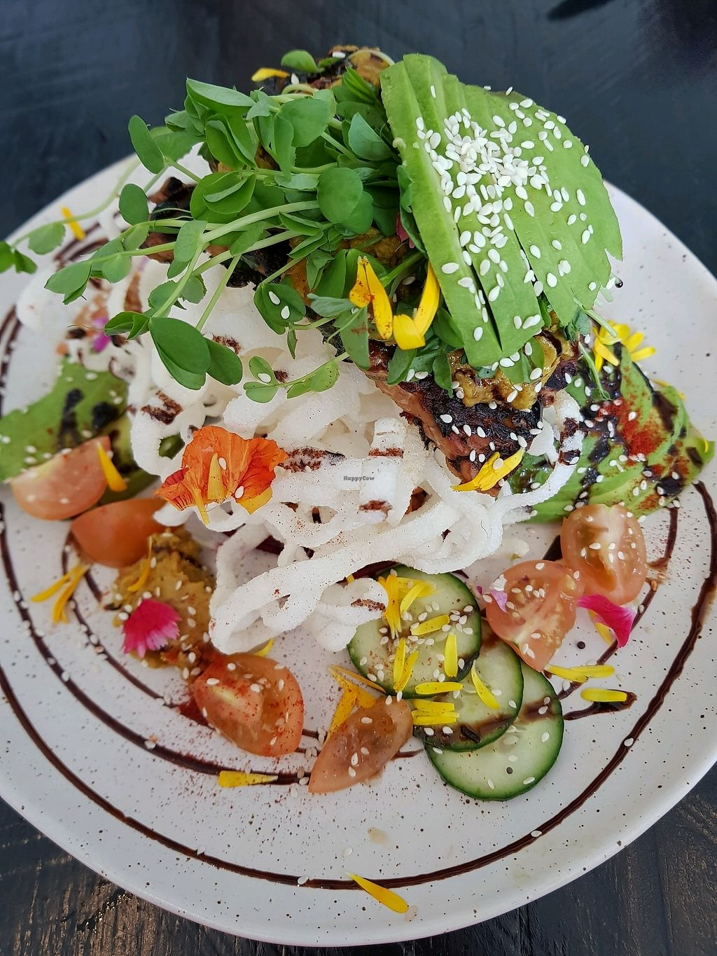 """Photo of Sozo Cafe  by <a href=""""/members/profile/MoniqueElouise"""">MoniqueElouise</a> <br/>Tempeh & rainbow salad with crispy rice noodles  <br/> October 8, 2017  - <a href='/contact/abuse/image/84435/313010'>Report</a>"""