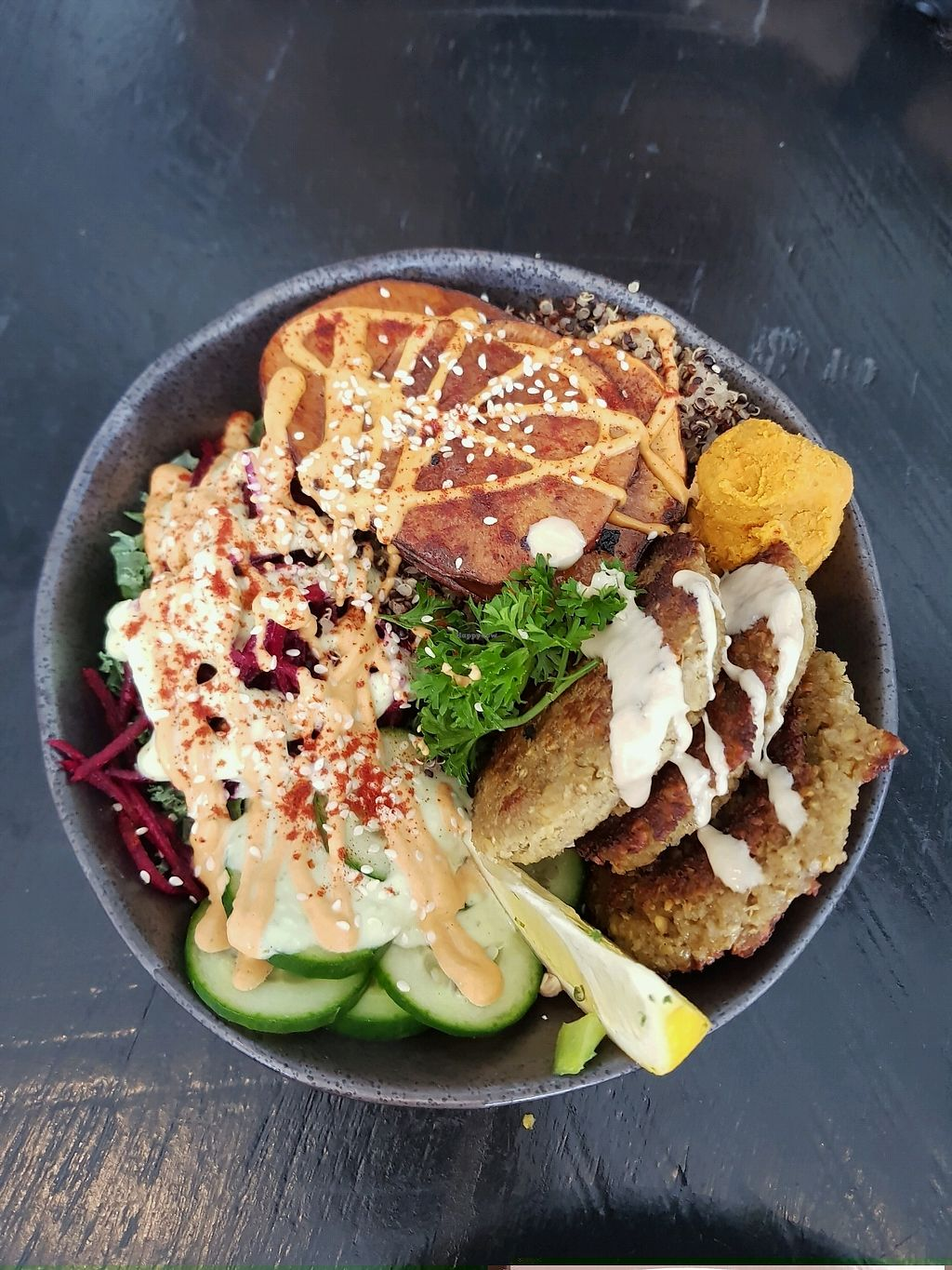 """Photo of Sozo Cafe  by <a href=""""/members/profile/MoniqueElouise"""">MoniqueElouise</a> <br/>Falafel Plate  <br/> October 8, 2017  - <a href='/contact/abuse/image/84435/313011'>Report</a>"""