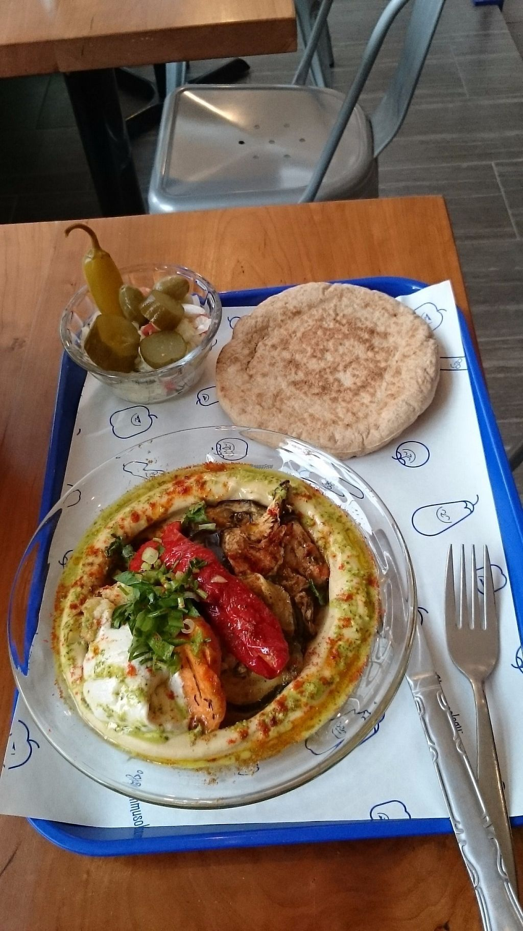 """Photo of Hummusology  by <a href=""""/members/profile/ZoraySpielvogel"""">ZoraySpielvogel</a> <br/>8 out of 11 menu item includes pita, salad & pickles.  <br/> December 25, 2016  - <a href='/contact/abuse/image/84450/204662'>Report</a>"""