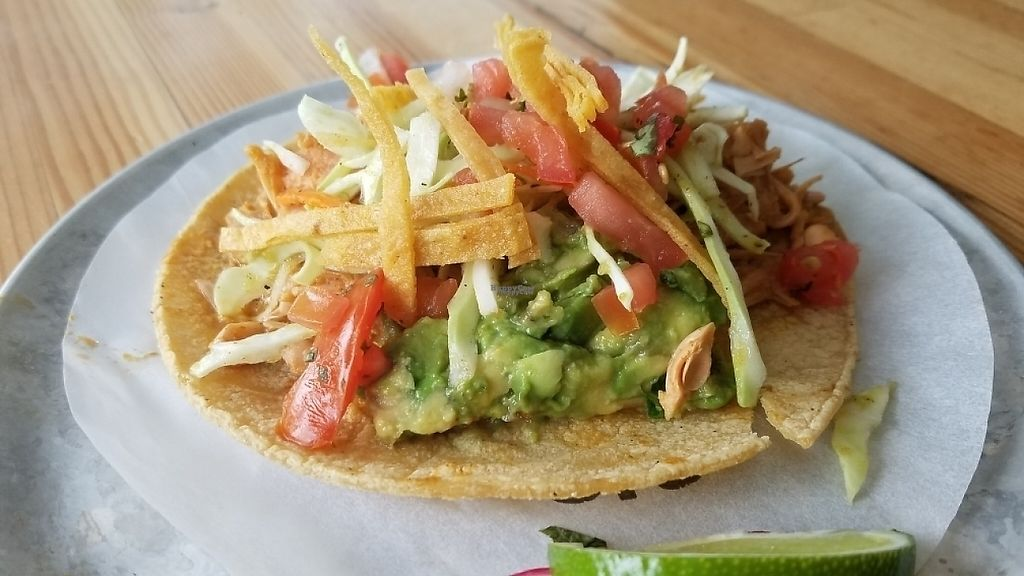 """Photo of Trejo's Tacos - Miracle Mile  by <a href=""""/members/profile/kenvegan"""">kenvegan</a> <br/>jackfruit taco <br/> April 17, 2017  - <a href='/contact/abuse/image/84468/249429'>Report</a>"""