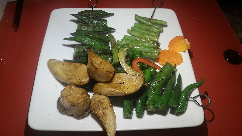 """Photo of Jing Chuan Vegetarian Beer Bar  by <a href=""""/members/profile/Terryclark"""">Terryclark</a> <br/>Grilled vegetables and mushrooms <br/> December 31, 2016  - <a href='/contact/abuse/image/84469/206536'>Report</a>"""