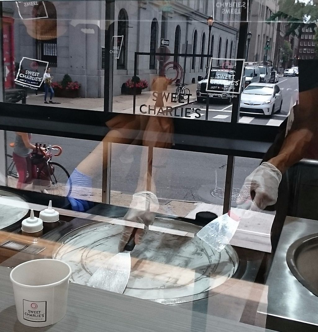 """Photo of Sweet Charlie's  by <a href=""""/members/profile/ZoraySpielvogel"""">ZoraySpielvogel</a> <br/>Vegan ice cream roll up preparation.  <br/> December 25, 2016  - <a href='/contact/abuse/image/84512/223442'>Report</a>"""