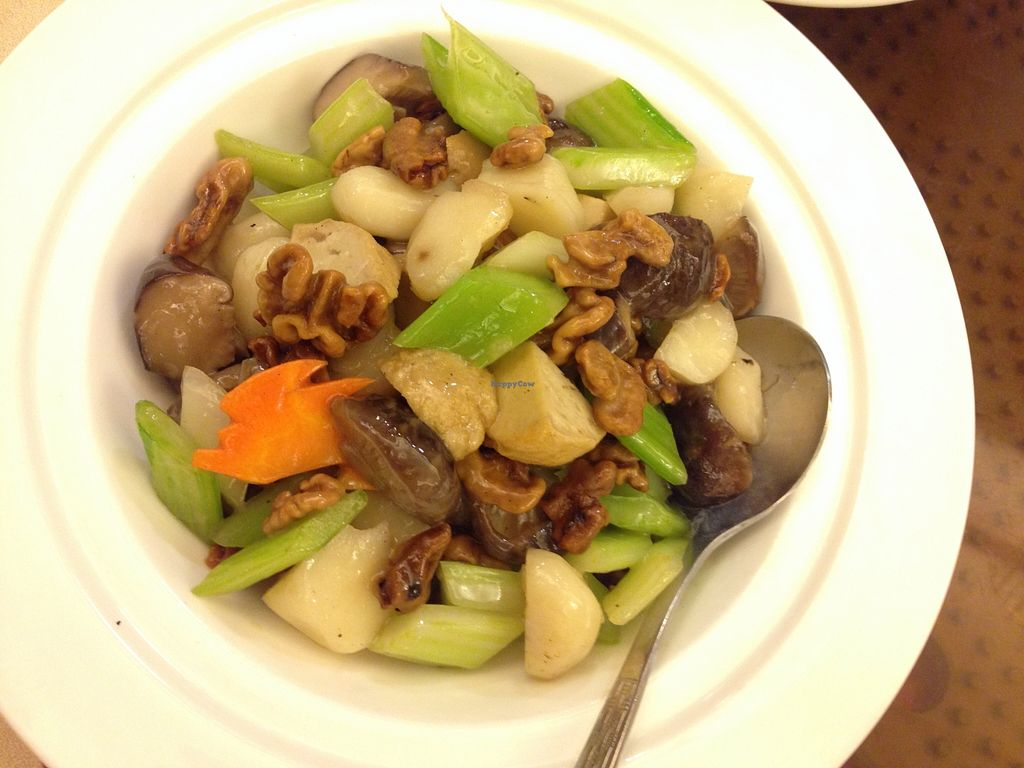 """Photo of Tung Fong Siu Kee Yuen  by <a href=""""/members/profile/Stevie"""">Stevie</a> <br/>http://www.meetup.com/Meat-Free-Hong-Kong/photos/26395282/ 合桃菇丁Diced mushroom with walnut <br/> September 8, 2015  - <a href='/contact/abuse/image/8454/116971'>Report</a>"""