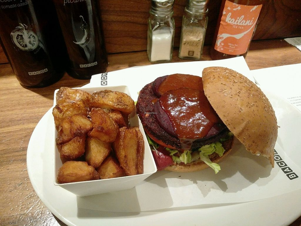 """Photo of Bacoa Burger  by <a href=""""/members/profile/martinicontomate"""">martinicontomate</a> <br/>""""roast beet"""" burger (seasonal) <br/> September 16, 2017  - <a href='/contact/abuse/image/84557/304978'>Report</a>"""