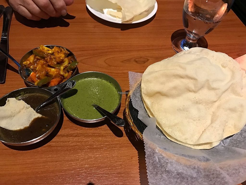 """Photo of Ambrosia India Bistro  by <a href=""""/members/profile/Conniemm"""">Conniemm</a> <br/>Dips (green not vegan) <br/> December 31, 2016  - <a href='/contact/abuse/image/84578/206653'>Report</a>"""