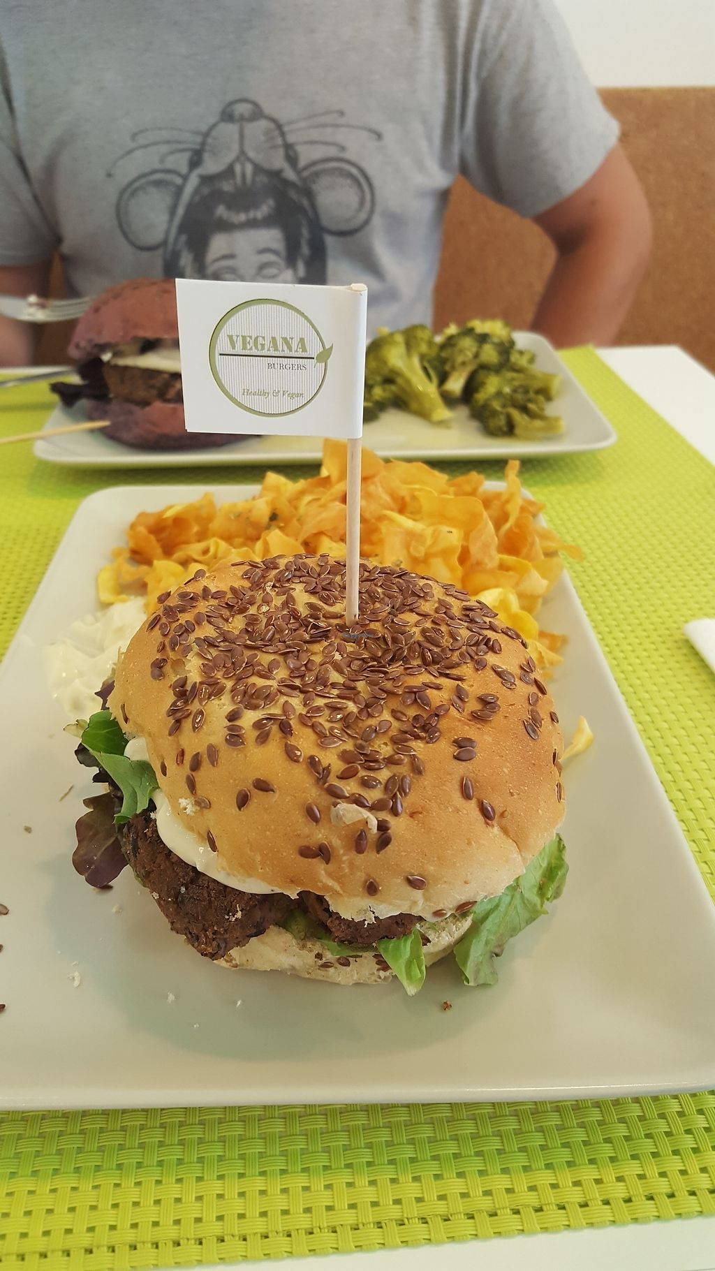 """Photo of Vegana Burgers - Cais do Sodre  by <a href=""""/members/profile/ErinTravels"""">ErinTravels</a> <br/>Mushroom & bean burger on fig bread <br/> July 13, 2017  - <a href='/contact/abuse/image/84623/279900'>Report</a>"""